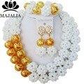 De moda de Nigeria Boda perlas africanas joyería conjunto blanco Crystal collar pulsera Joyería Nupcial fija El Envío libre G-78