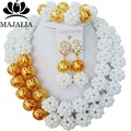 Fashion Nigeria Wedding african beads jewelry set white Crystal necklace bracelet Bridal Jewelry sets Free shipping G-78