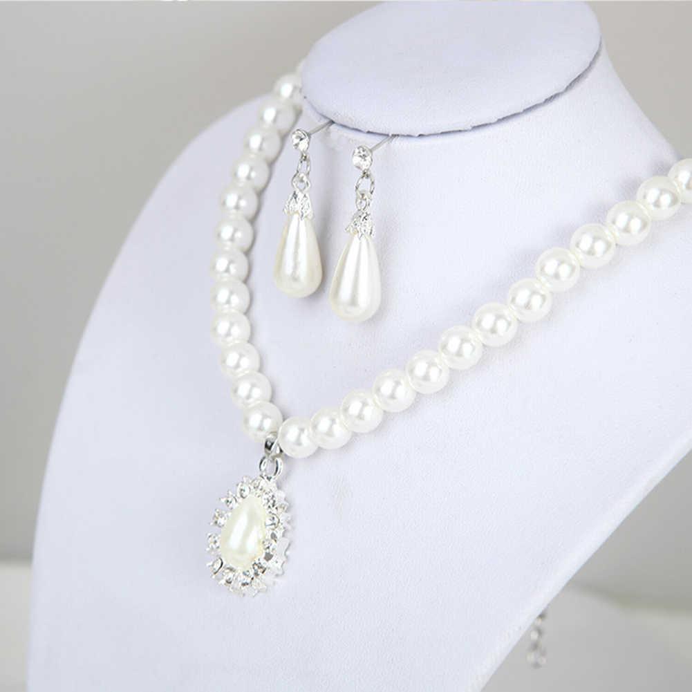 2019 Fashion Luxury Women Water Drop Shape Pendant Faux Pearl Beaded Necklace Dangle Earrings Party Wedding Bridal Jewelry Set w