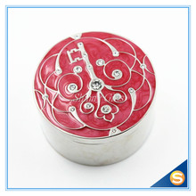 Wedding Favor Round Shape Metal Jewelry Box Ring Holder Small Gadget