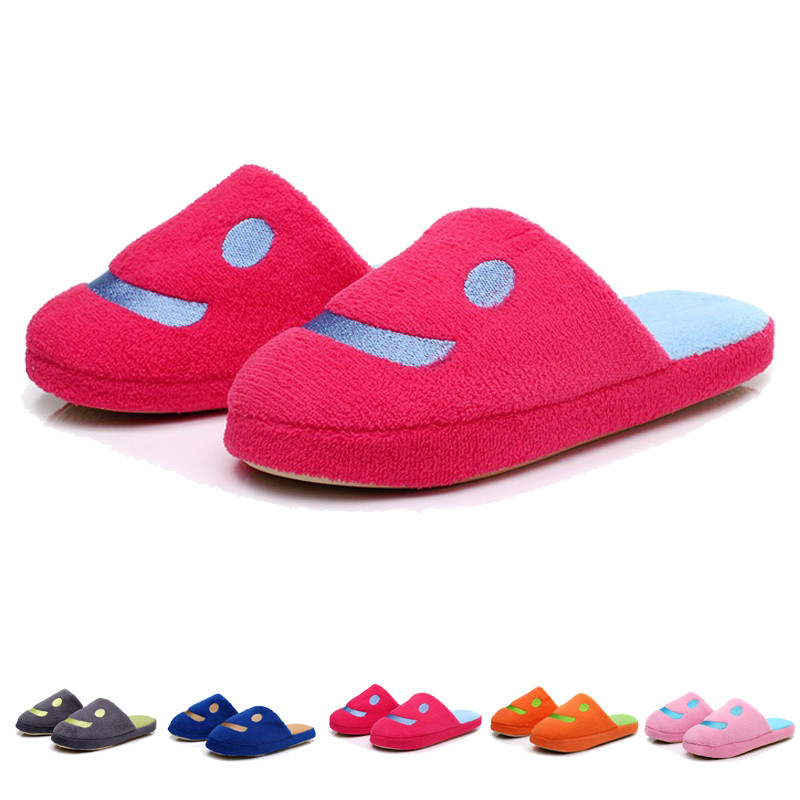 New 2016 Promotion Lovely Smile Autumn&Winter Warm Men&Women Cotton-padded Lover Antiskid Plush At Home Slippers Indoor Shoes