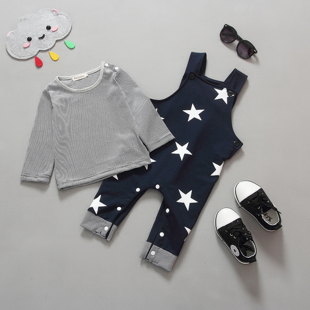 Baby Kids Boys Clothing Set Striped Long Sleeve T Shirt/sweater + Stars Overalls Child Boys Pants Suits 1230