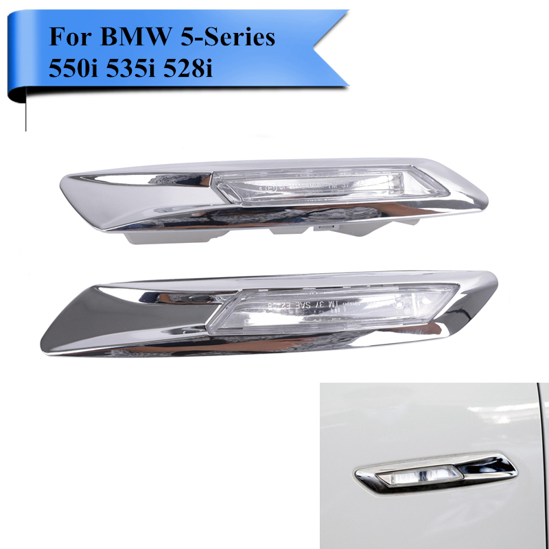 2PCS Chrome LED Side Marker Lamp Turn Signal Light for BMW F10 F11 F18 5 Series 550i 535i 528i 2011 2012 2013 2014 2015 #P358 free shipping 2x led turn signal side light auto parts led side marker car accessories with m logo for bmw e46 02 05 4d 5d