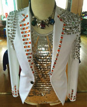 Plus Size Customized Crystal Jacket Men's Stage Wear Beaded Rivets Coat Costume Handmade Rhinestone Nightclub Male Singer Blazer