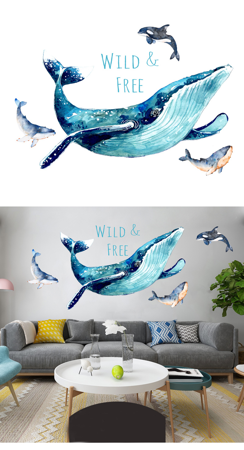 3D Large Blue Whale Cartoon Wall Sticker for Baby Kids Rooms Home Decor Living Room Mural Art Classroom DIY Wall Decals