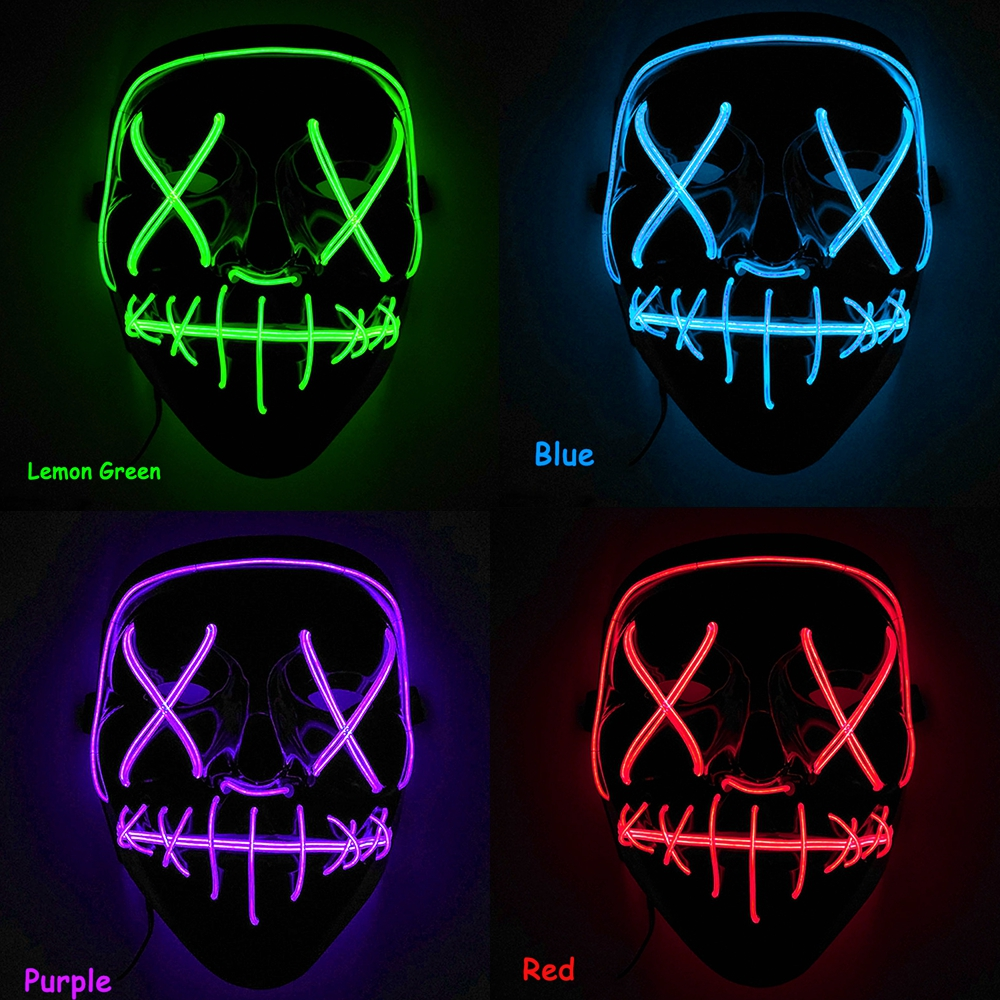 "Halloween Light Up LED Rave Mask The Purge Full Facewear Mask ""Smiling Stitched"" El Wire Festival Party Masks"