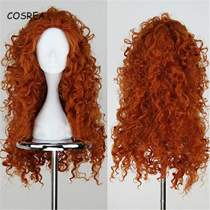 Brave Princess Merida Kinky Curly Wig Adult Costume Synthetic Wig Water Wave Wig Wavy Long Women Girls Hairpiece Toupee