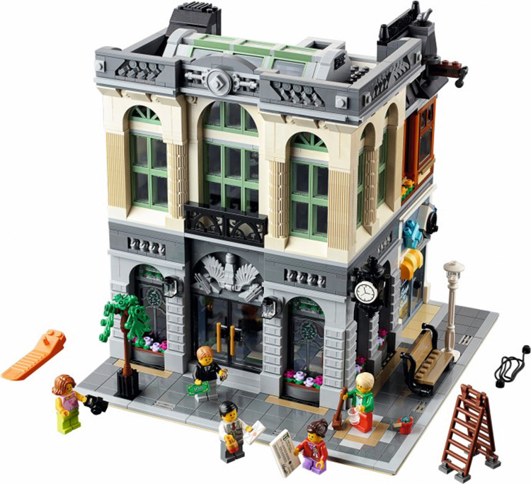 15001 2413Pcs Creator City Street Brick Bank Model Building Kits Blocks Bricks Toy Children Gifts 10251 lepin 15018 3196pcs creator city series sunshine hotel model building kits brick toy compatible christmas gifts