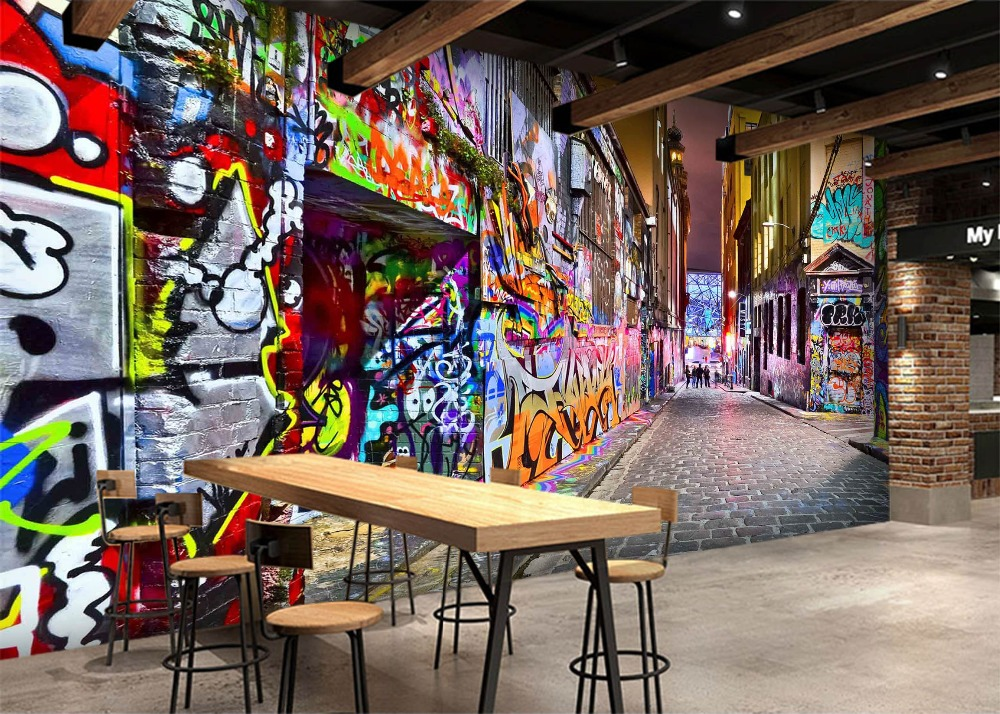 [Самоклеющиеся] 3D городской граффити настенная улица 32 настенная бумага настенная печать настенные наклейки