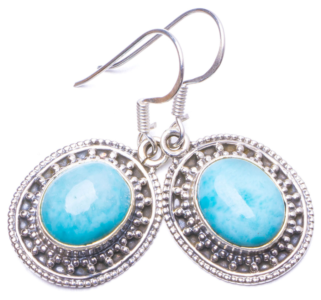 Natural Caribbean Larimar Handmade Unique 925 Sterling Silver Earrings 1.25 Y1005