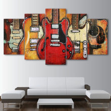 Modular Frame Art Canvas Pictures Prints Living Room Poster 5 Panel Instrumentos musicales Guitarra Pintura de pared Home Decor Cuadros