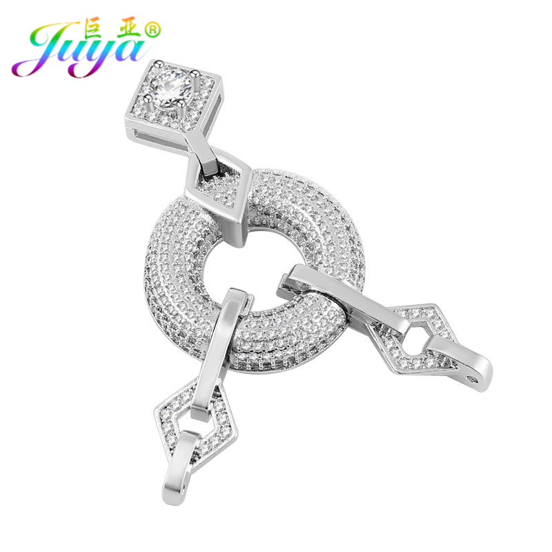 Juya DIY Jewelry Components Geometric Fastener Clasp Connector Pendant Accessories For Women Handmade Pearls Jewelry Making