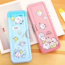 Deli Creative Pencil Case Cute Cartoon Student Stationery Boxes Three-Layer Kawaii Pupil Pen Bag Writing Accessories