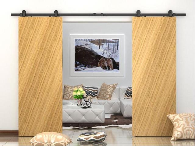 Top montado doble deslizante granero puerta corredera de madera ...