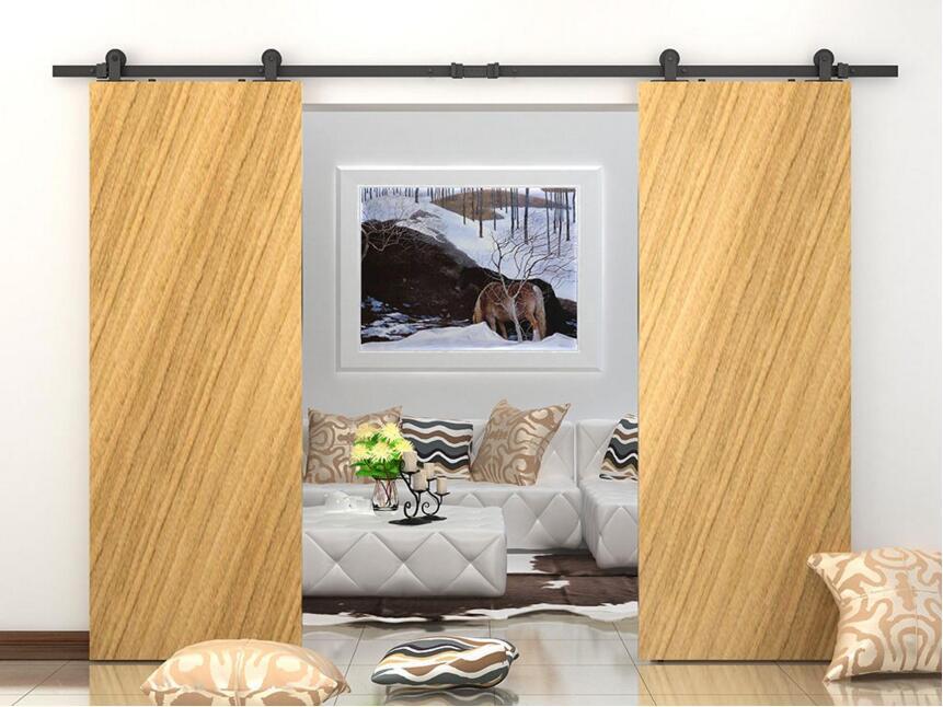 montaje superior doble corredera granero puerta corredera de madera granero hardware de la puertachina