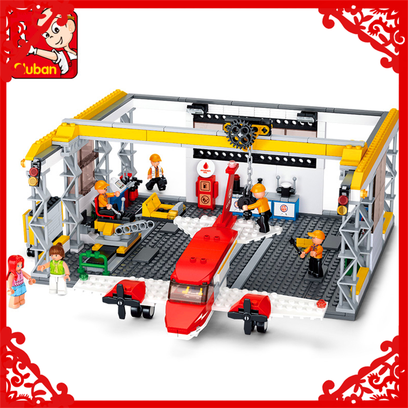 596Pcs Aviation City Aircraft Repair Shop Model Building Block Toys Sluban 0372 Educational Gift For Children Compatible Legoe 335pcs 0370 sluban figures aviation city aircraft medical air ambulance model building kits blocks bricks toys for children gift
