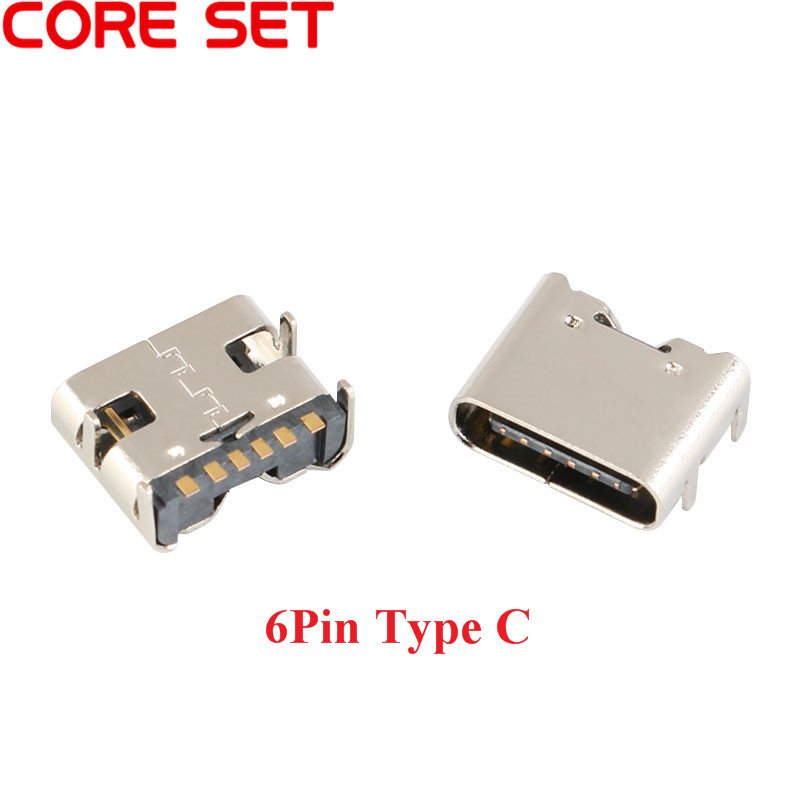 50pcs/lot 6 Pin SMT Socket Connector Micro USB Type C 3.1 Female Placement SMD DIP For PCB Design DIY High Current Charging