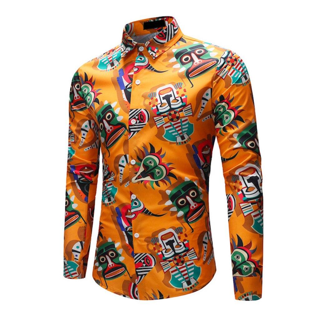 M 4xl Plus Size Vintage Men Dress Shirt 2018 Fashion Yellow Abstract
