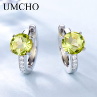 UMCHO 2 0ct Natural Peridot Clip Earrings For Women Genuine 925 Sterling Silver Earrings Female Fine