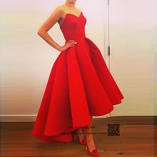 8a9f9f5645 Red Satin Short High Low Prom Dresses Cheap 2016 Sweetheart Formal Evening  Gowns Vestidos de Formatura