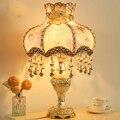 В Европейском стиле спальня настольная лампа прикроватная лампа теплый пастырской стиль декоративные ткани можно регулировать яркость w