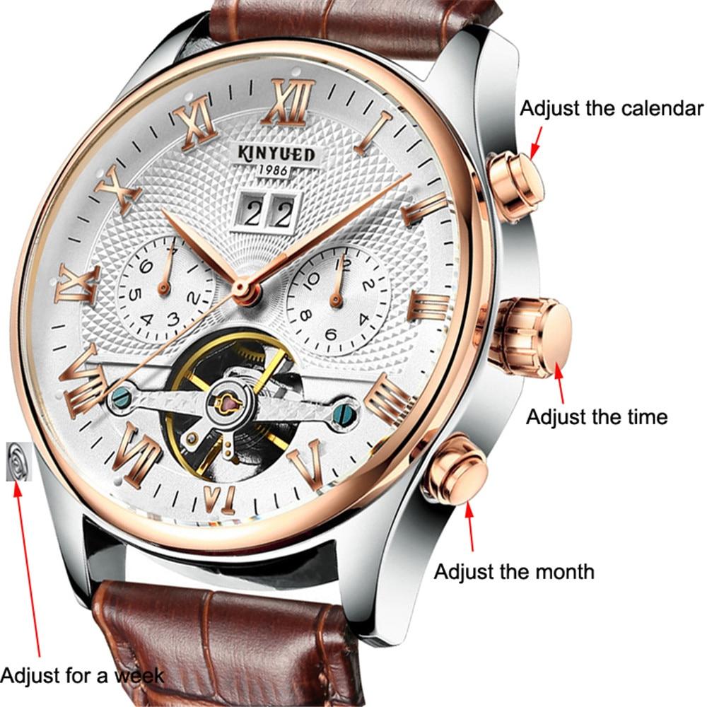 HTB14S86dBKw3KVjSZFOq6yrDVXaI KINYUED 2019 Skeleton Tourbillon Mechanical Watch Automatic Men Classic Rose Gold Leather Mechanical Wrist Watches Reloj Hombre