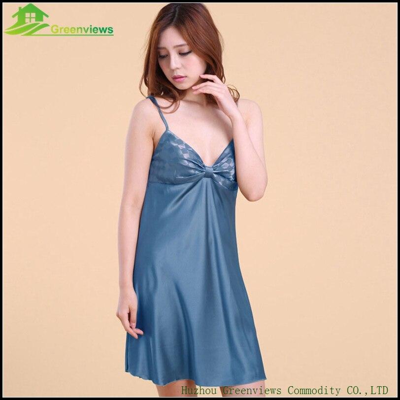 9 Farbe Summer Home Dress Woman Satin Sleepwear Sexy Dress Solid Nightwear  With Bow One Size-in Nightgowns   Sleepshirts from Underwear   Sleepwears on  ... 4e91438f6