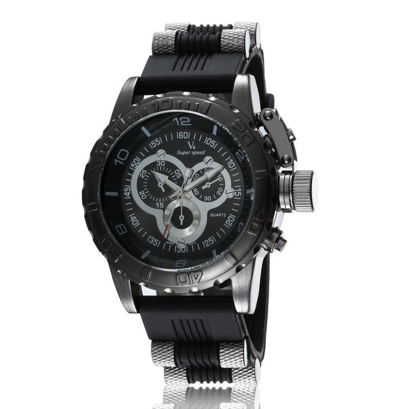 79769155fd4e Venta caliente Vogue V6 tiras hora marca Dial redondo grande reloj de  cuarzo hombres horas silicona reloj deportivo Relogio masculino