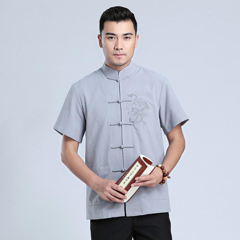 Купить с кэшбэком Chinese Tradtional Summer Tops Men Linen Short-Sleeves Shirt Size M-3XL