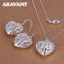 hot deal buy fashion jewelry set 925 silver jewelry heart shape chain necklace earrings jewelry sets for women wedding gifts