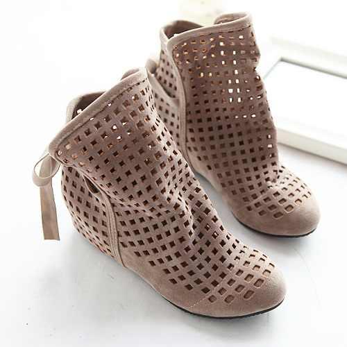 Boyutu 34-43 Kadın Botları Yaz Sevimli Akın Düz Düşük Gizli Takozlar Katı kesimler yarım çizmeler Bayanlar elbise rahat ayakkabılar 3 renk
