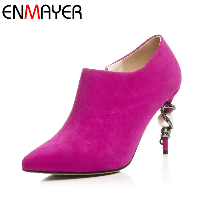 ФОТО ENMAYER HIgh heels Sexy Rose Red Shoes Woman Spring and Autumn Zippers Pointed Toe Ankle Boots for Women Platform Fashoin Boots