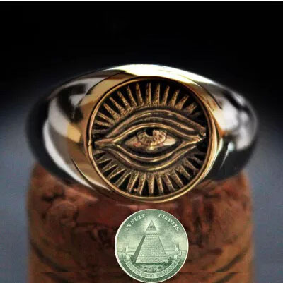 Eye of Providence Ring Freemasonry Real Pure 925 Sterling Silver Ring Thai Silver Open Ring Men Jewelry <font><b>Good</b></font> <font><b>Vibrations</b></font> HR11
