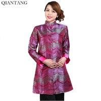 Nouveauté Chaude Rose Femelle Femmes Longue Veste Satin Manteau Classique Chinois Tang Vêtements Mujer Chaqueta Taille S M L XL XXL XXXL Mne01B
