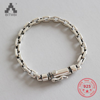 100% Real 925 Sterling Silver Simple Women Men Charm Bracelet Bangle Handmade Jewelry