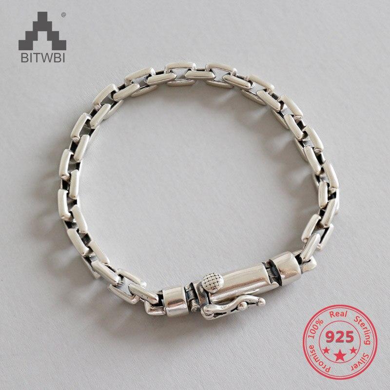 100% Echt 925 Sterling Silber Einfache Frauen Männer Charm Armband Bangle Handmade Schmuck