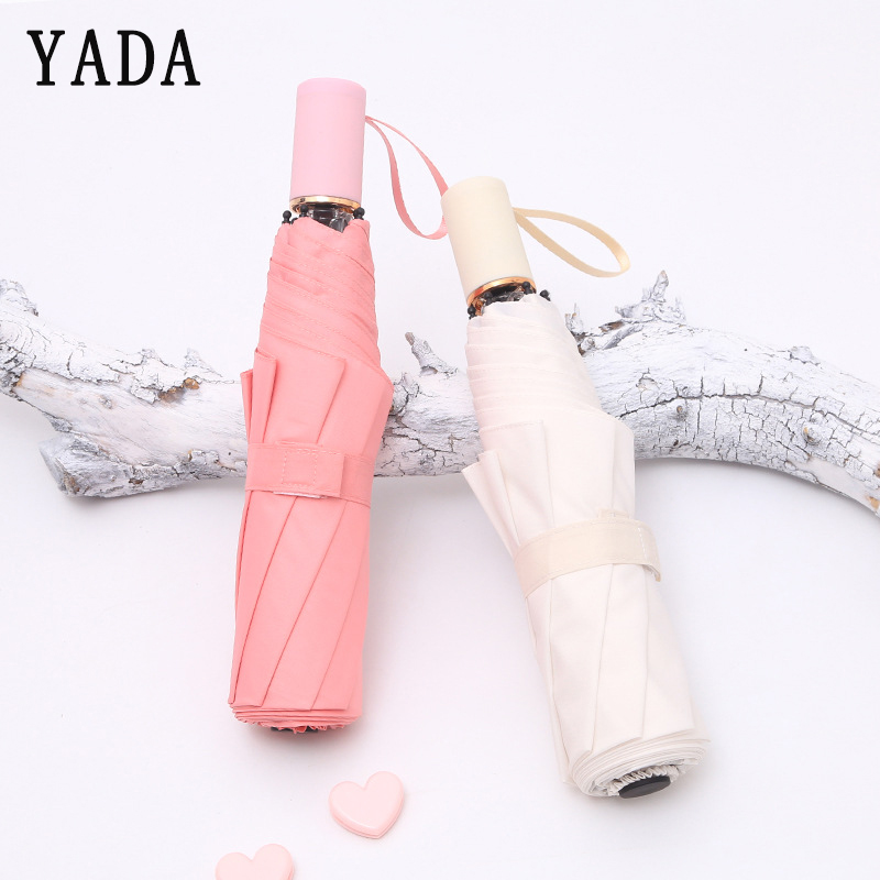 YADA New Ultralight Solid Color Folding Umbrella For Women UV Rainproof Protection Parasol Rain Sun Jelly Handle YD094