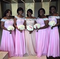 Elegant Lace Beach Bridesmaid Dresses 2017 Pink Chiffon Long Off Shoulder Maid of Honor Wedding Guest Gowns Cheap Plus Size