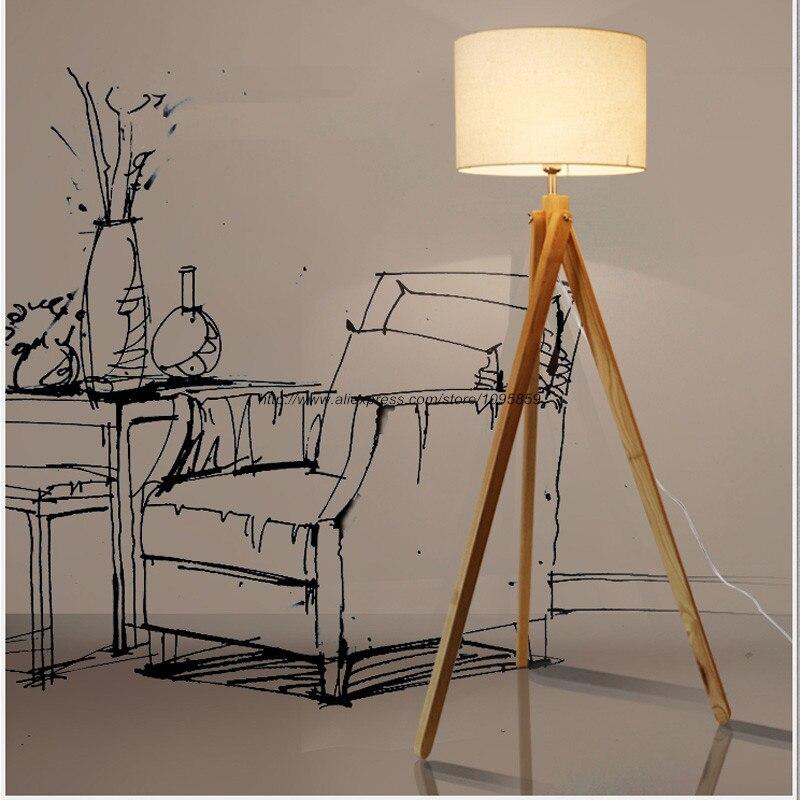Modern Tripod Wood Floor Lamps Lights Bedroom Standard ...