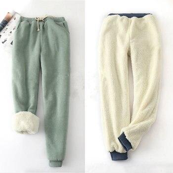 Зимние брюки из овечьей кожи с эластичной резинкой на талии, большие размеры, однотонные хлопковые шаровары, женские повседневные теплые бр...