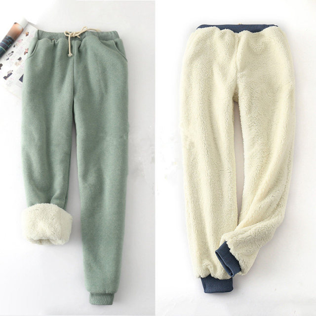 Winter Lambskin Thicker Elastic Waist Pants Loose Large Size Solid Color Cotton Harem Pants Women Casual Warm Trousers MZ1955