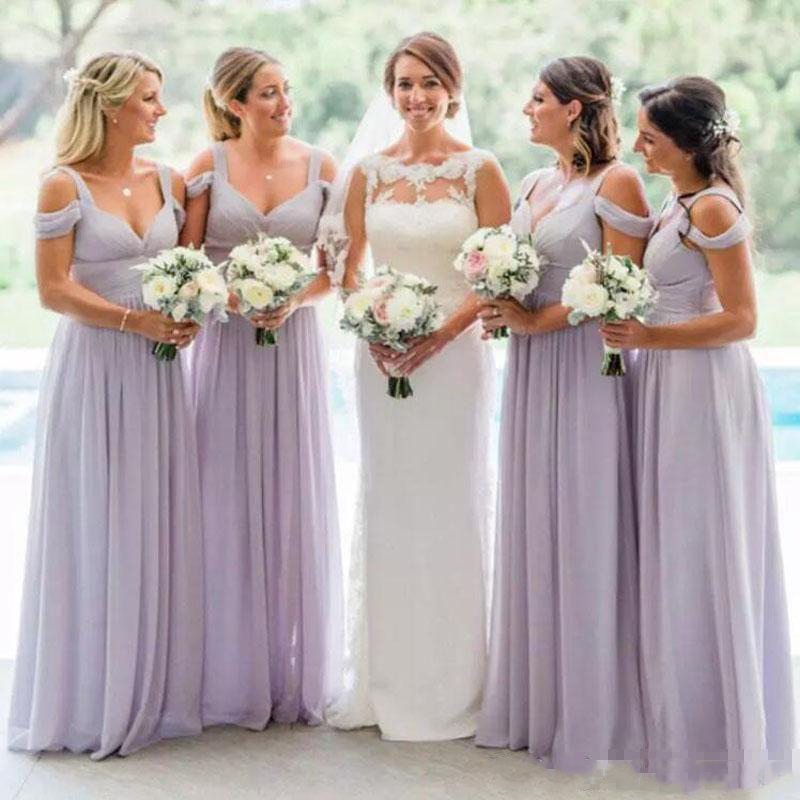 Simple new long paragraph and floor skirt A-shaped heart-shaped collar Chiffon   bridesmaid     dress   for Weeding