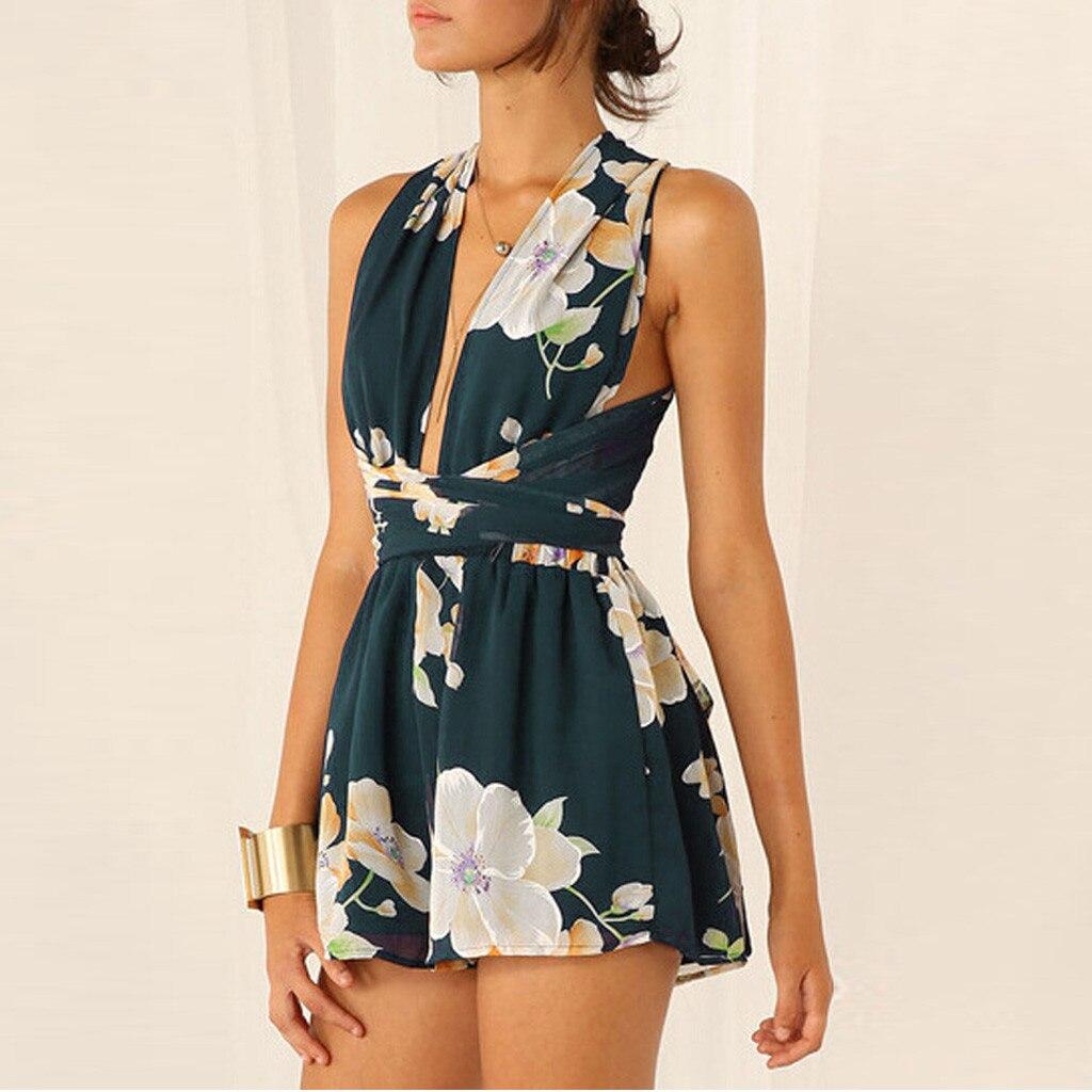 Women's fashion new product sleeveless cross fresh sweet trend bandage high waist sexy beauty back jumpsuit bodysuit body 41*