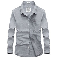 Pure Color Gray Long Sleeve Men Casual Shirt Asian Size S XXXL Slim Fit Oxford Cotton