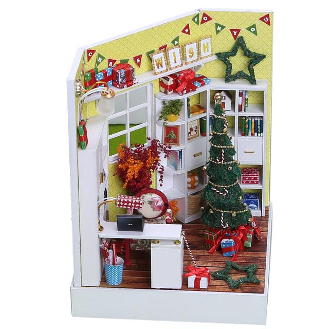3D Christmas Themed DIY Wooden Doll House Room