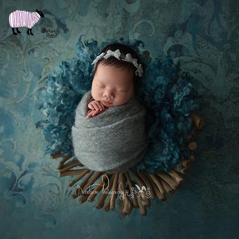 все цены на Newborn Baby Photography Wooden Basket Props Infant Photo Shoot Accessories Baby Photo Shoot Handmade Wood Basket bebe foto Prop онлайн