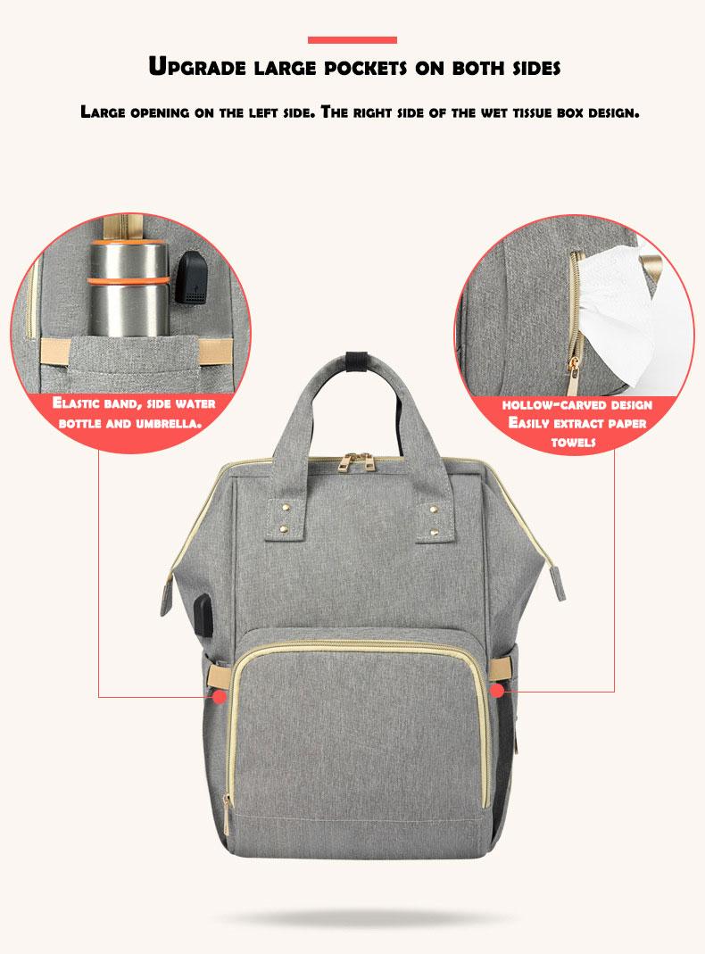 HTB14S8zd21G3KVjSZFkq6yK4XXaA Fashion Mummy Maternity Nappy Bag Waterproof Diaper Bag With USB Stroller Travel Backpack Multi-pocket Nursing Bag for Baby Care