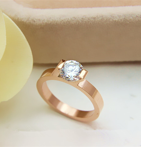 Genuine 14K Rose Gold 585 Jewelry 1Ct B-Brand Diamond Rose Gold Engagement Ring Wonderful Handicraft from OEM factory