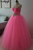 Pink Tulle Sweetheart Ball Gown Quinceanera Dresses 2018 Vestido De Debutantes Crystal Beaded Sweet 16 Dress