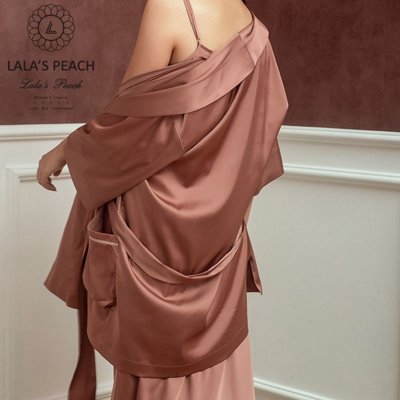 Lalas Peach womens robes silk nightgown solid color night dress Bath Robes cape with bind Tops sleepwear female bath clothes